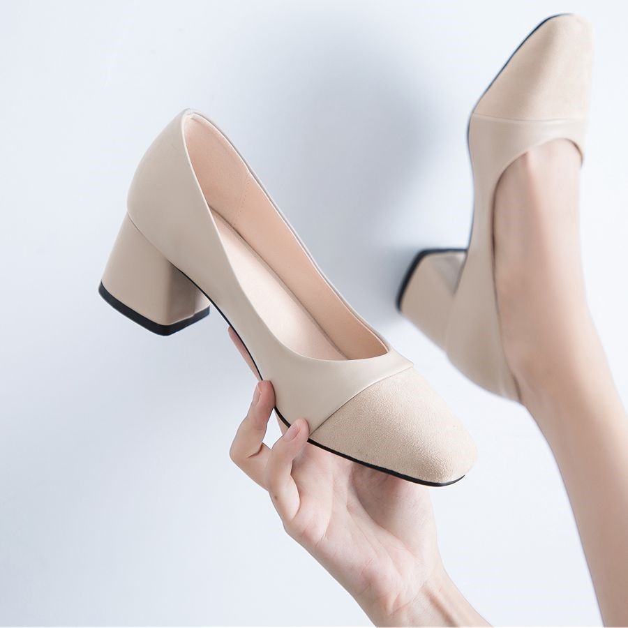 Spring and autumn new high-heeled shoes womens single shoes versatile girl small fragrance high-heeled shoes thick heel evening shoes medium heeled womens shoes