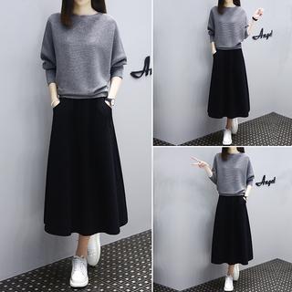 春装2021年新款女装连衣裙休闲套装气质宽松大码针织两件套裙子潮