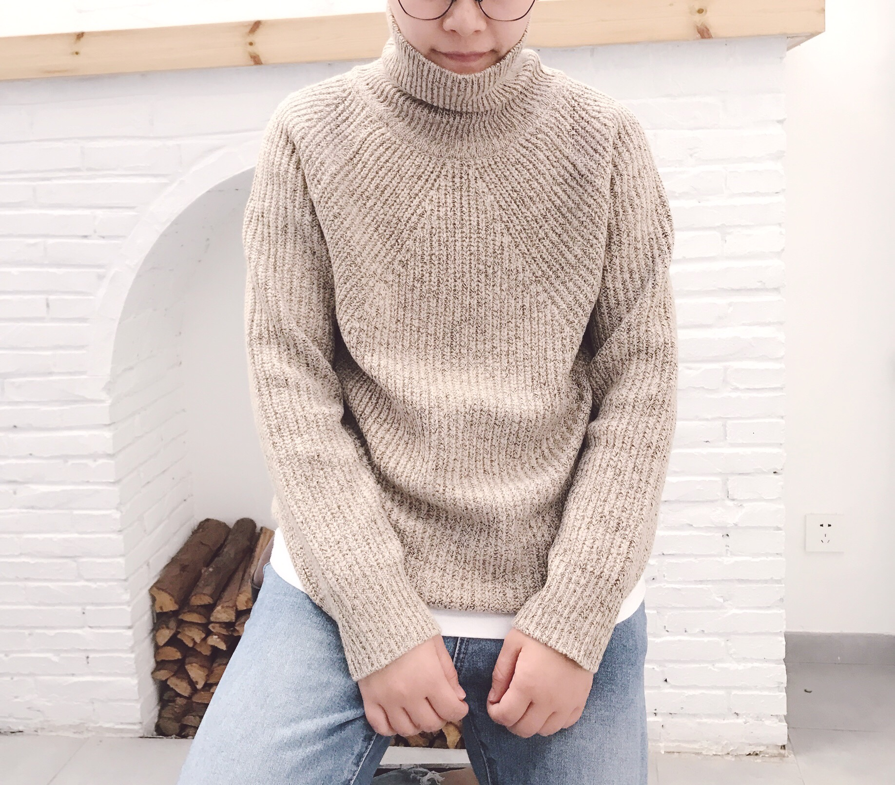Autumn and winter mens 2020 new yellow gray reversible turtleneck sweater knitted sweater slim youth trend warm