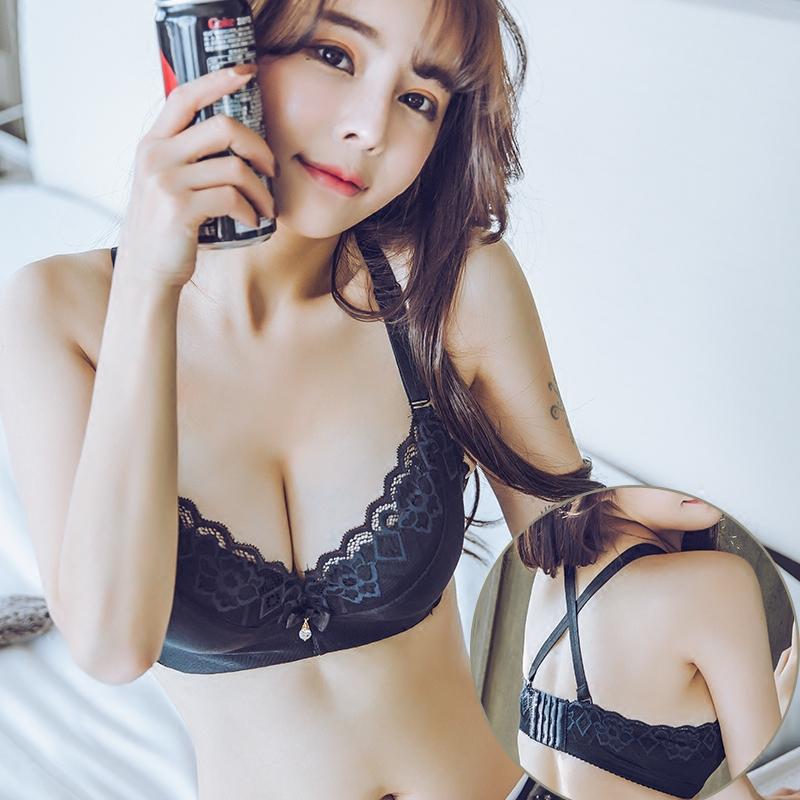 性感美背套装超厚加厚8cm内衣女小胸平胸交叉细带聚拢上托文胸