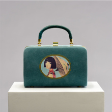 Coin Qian's Originally Designed New Lake Blue Anti-skin Retro Art Hand-held Fashion Box and Bag in 2019