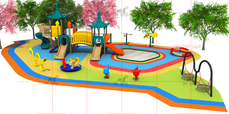 Kindergarten little doctor slide swing combination community outdoor amusement facilities childrens rocking horse swivel chair fitness equipment