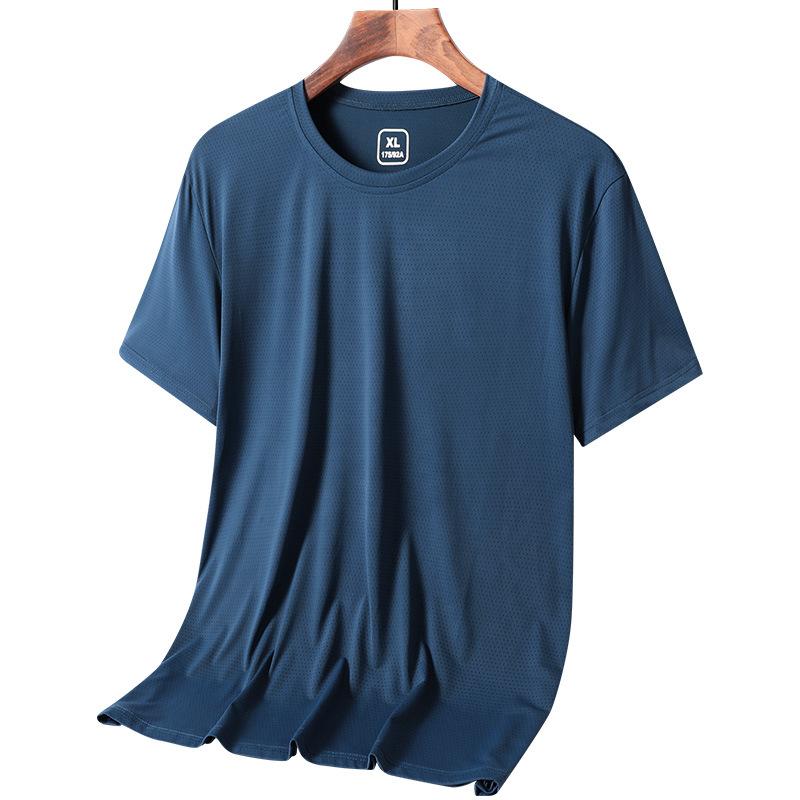 男士冰丝短袖T恤跑步健身休闲夏装户外运动体恤网眼快透气速干衣