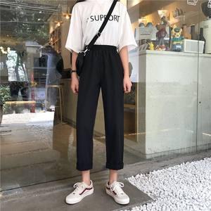 阔腿裤女春秋垂感高腰裤子直筒休闲裤西装裤学生宽松百搭九分裤潮