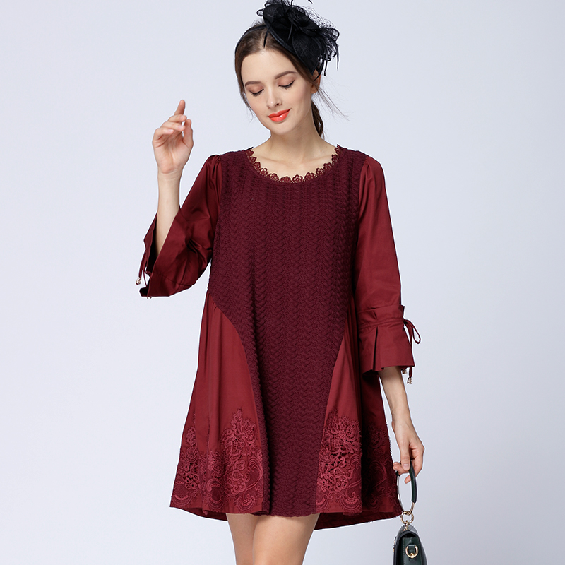Autumn / winter 2018 new original ladies stitching cotton embroidery a show thin and large womens dress clearance