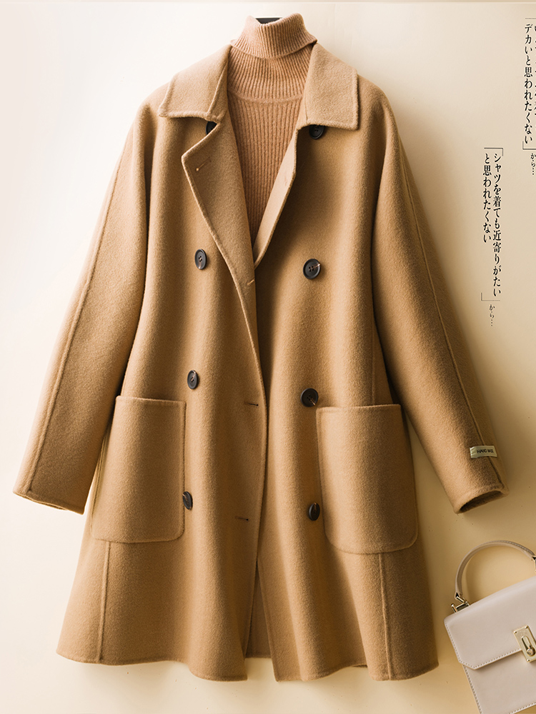 Autumn and winter 2020 new double-sided Plush wool coat womens middle and long thin wool coat loose wool coat
