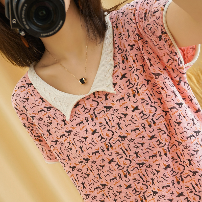 Summer new V-neck cotton linen printed knitted short sleeve womens loose large Korean loose cotton T-shirt moms