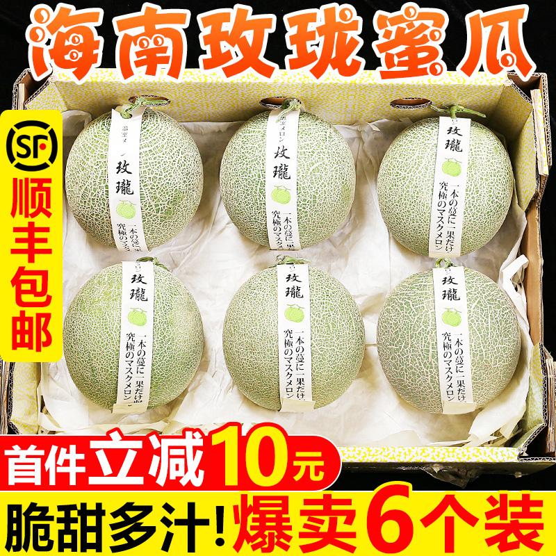 海南玫珑蜜瓜6个新鲜当季日本品种静冈小蜜甜瓜网纹瓜5哈密瓜水果