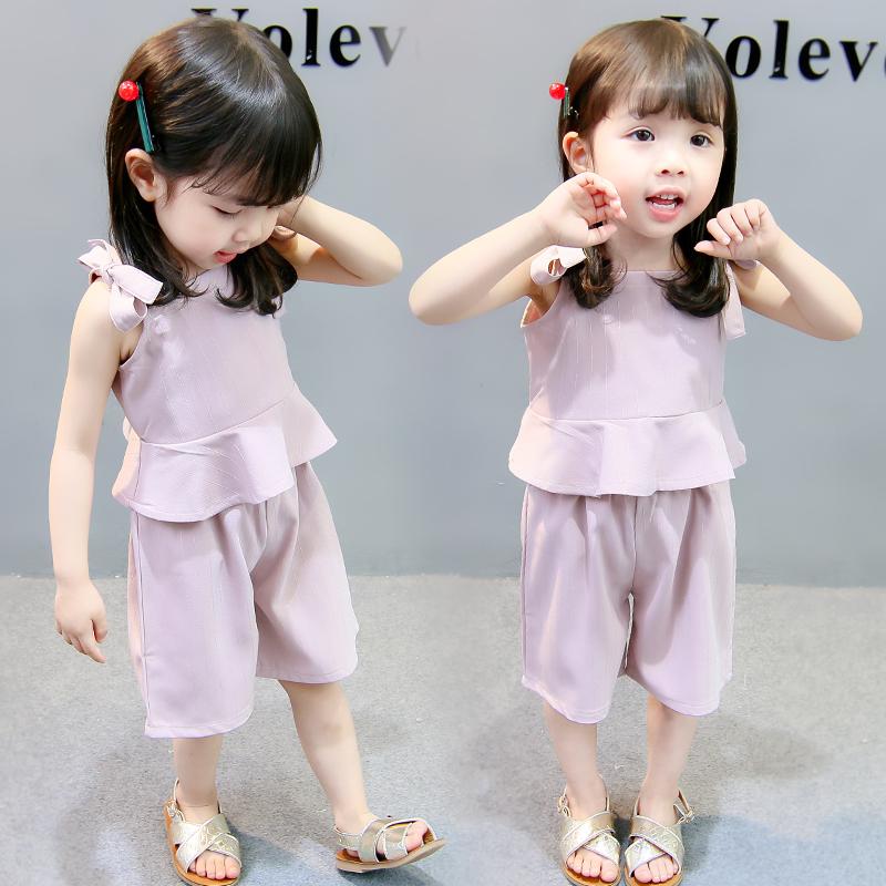 女童套装夏装2018新款吊带韩版时尚纯棉婴儿衣服女宝宝夏季两件套