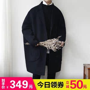 西俊韓國新款寬松翻領羊絨外套男春秋新款青年百搭氣質毛呢大衣潮