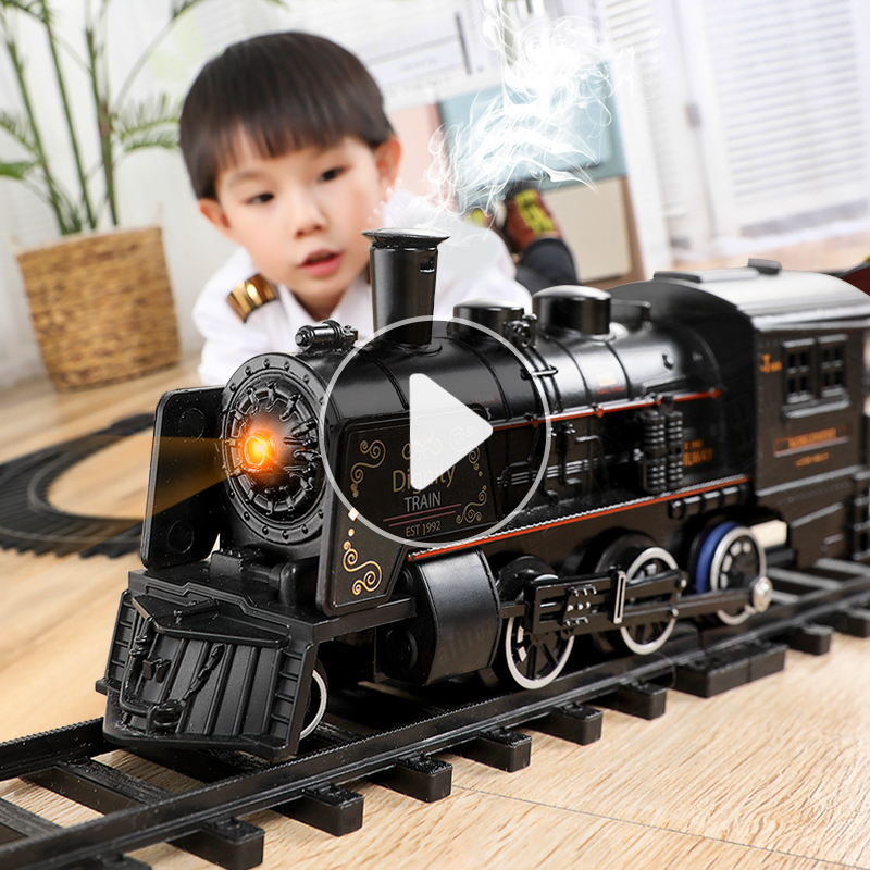 Simulated high-speed railway parking lot children electric small train set track retro steam train model toy boy