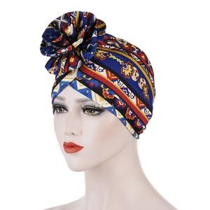 迪拜帽子春夏新款阿联酋女士头巾帽成人花色包头帽花朵印度套头帽