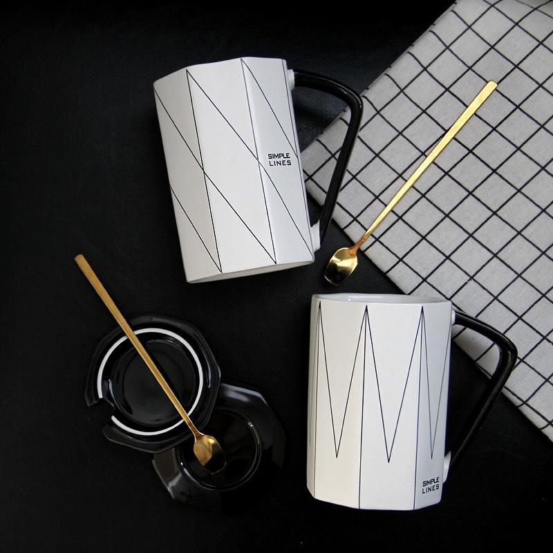 ins北欧风情侣杯子一对创意咖啡水杯带盖勺陶瓷复古办公室马克杯