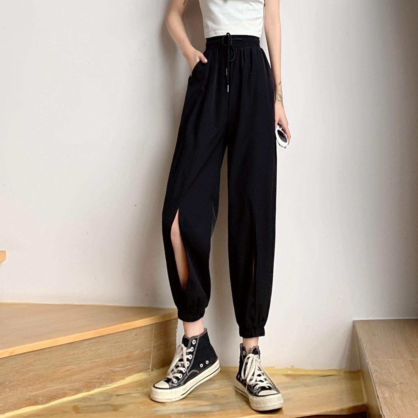 夏季韩版2020新款薄款高腰显瘦设计感开叉运动风九分休闲裤女裤子