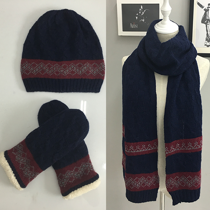 Wool mens hat scarf gloves three piece suit in one womens winter wool knitting couple fashion trend gift