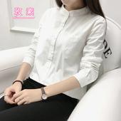 立领白色衬衫女长袖春无领衬衣学生纯棉打底寸衫韩范上衣显瘦修身