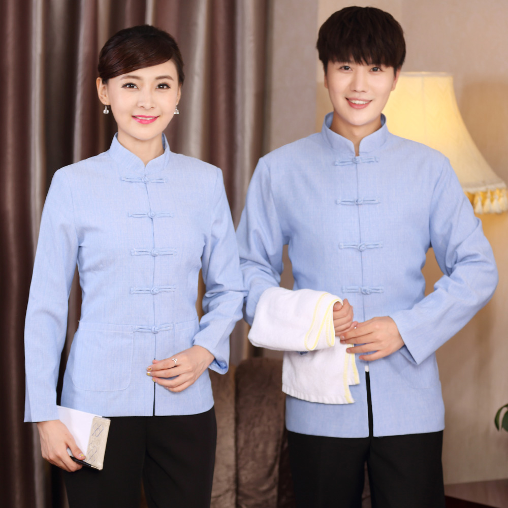 Hotel work clothes autumn and winter clothes hotel room attendants cleaning clothes Chinese foot therapy male technician long sleeve work clothes