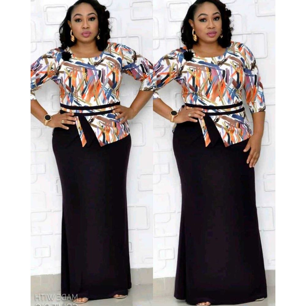 2019New African Christmas print Ladies dress Women dress 4XL