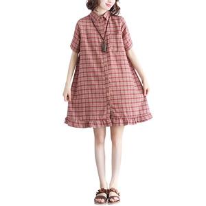 大码胖妹妹夏装洋气宽松格子连衣裙
