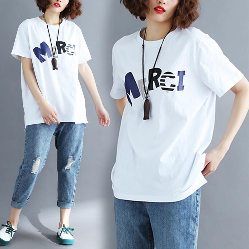 大码女装夏装新款韩版文艺印花字母上衣胖mm宽松显瘦短袖T恤女潮