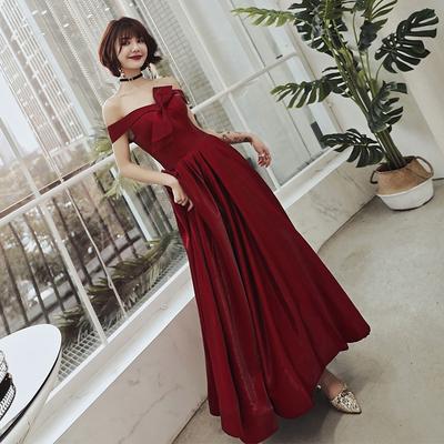 敬酒服新娘2019夏款结婚新款显瘦一字肩小个子红色晚礼服平时可穿
