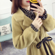 Waist-like water-like cashmere jacket female long section 2018 new tide thickening slim knit cardigan winter coat