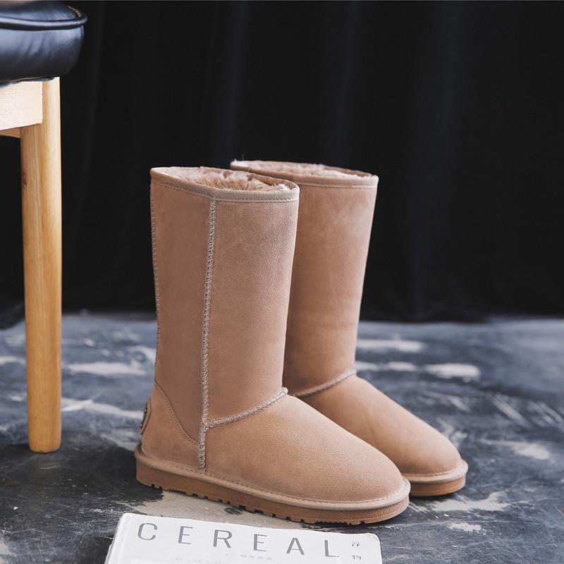 雪地靴女高筒2020新款冬季牛皮加绒长筒靴加厚东北防滑雪地棉鞋
