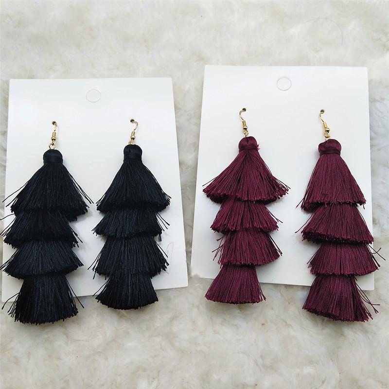 A120 Qingdao jewelry European and American original single jewelry womens multi-layer thread ear winter versatile jewelry womens earrings earrings