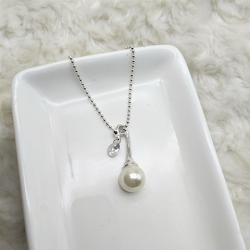 A21 Qingdao jewelry foreign trade jewelry high end copper zircon pearl Swan Necklace
