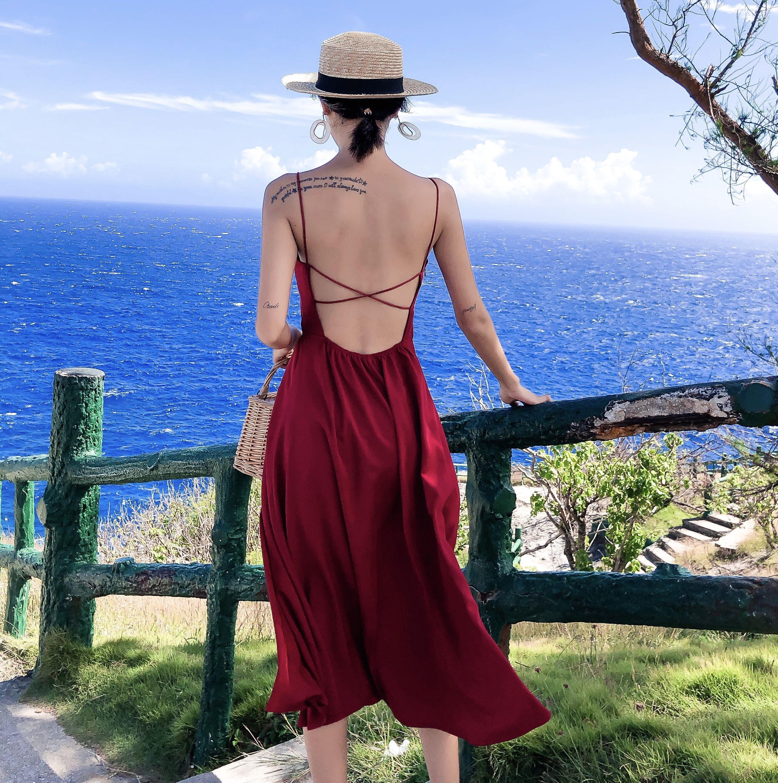 女沙滩裙超仙普吉岛海边度假长泳衣限7000张券