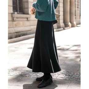 配毛衣的针织半身裙女 秋冬加厚高腰A字裙中长款大摆长裙伞裙黑色