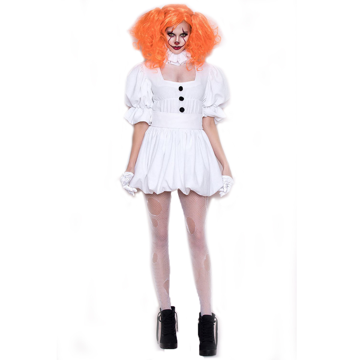Halloween Clown Costume stage Dress Adult cos white ghost doll dress vampire ghost bride