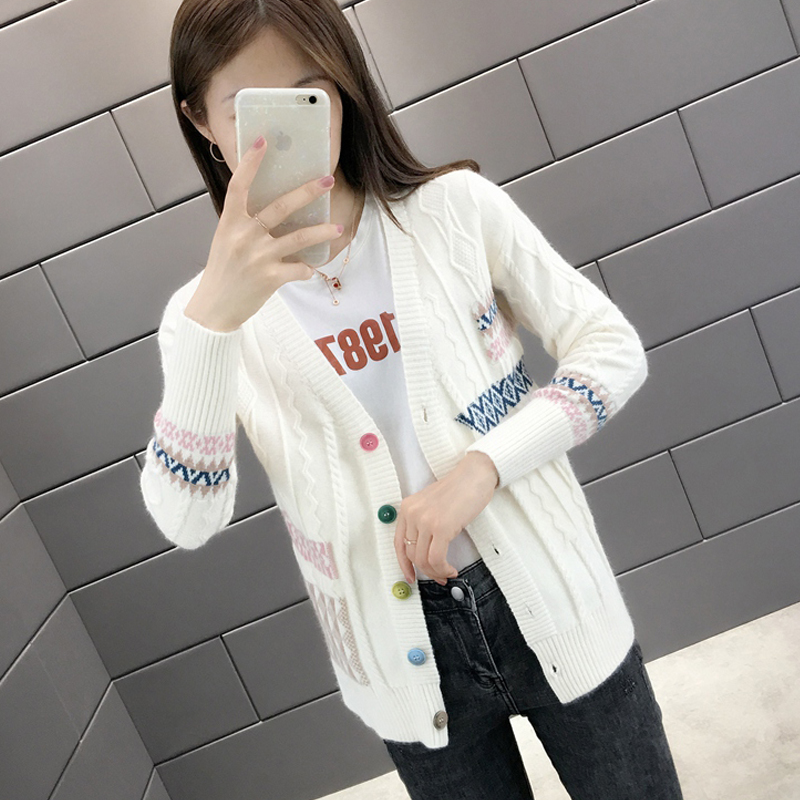 Early autumn Korean knitted womens cardigan 2020 new style womens wear long sleeves with fairy sweater coat