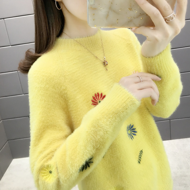 Mink sweater womens 2019 new fall / winter loose fashion sweet half high collar knitted bottoming shirt ins super hot