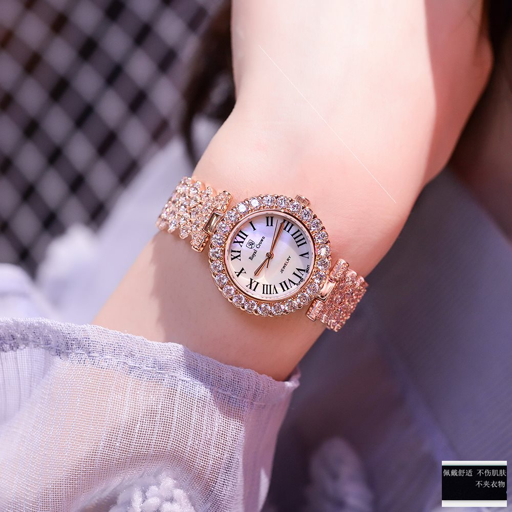 ,2020年新款时尚潮流奢华满钻女表气质防水镶钻大气腕表手链手表