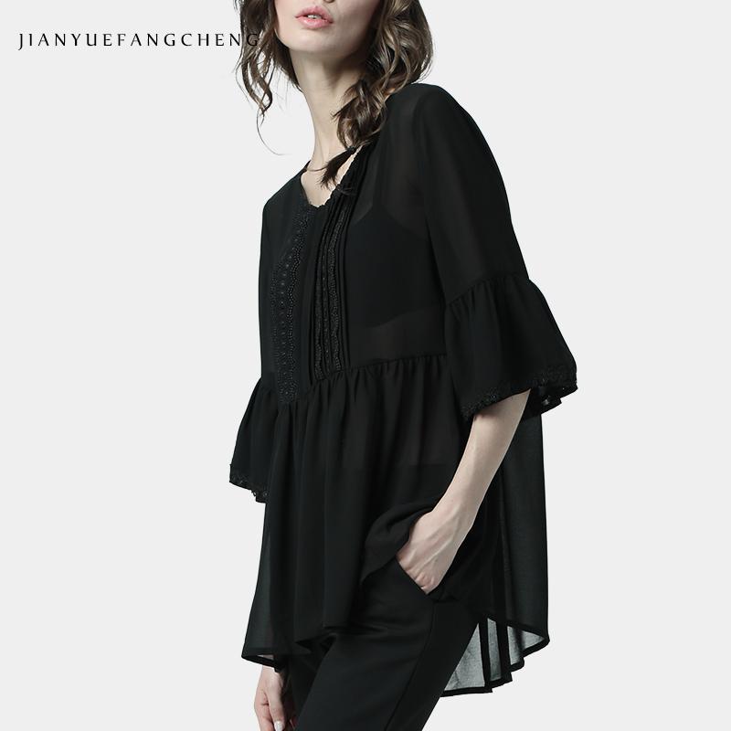 欧洲站春夏雪纺衫上衣女七分袖宽松打底衫中长款衬衫洋气欧货小衫图片