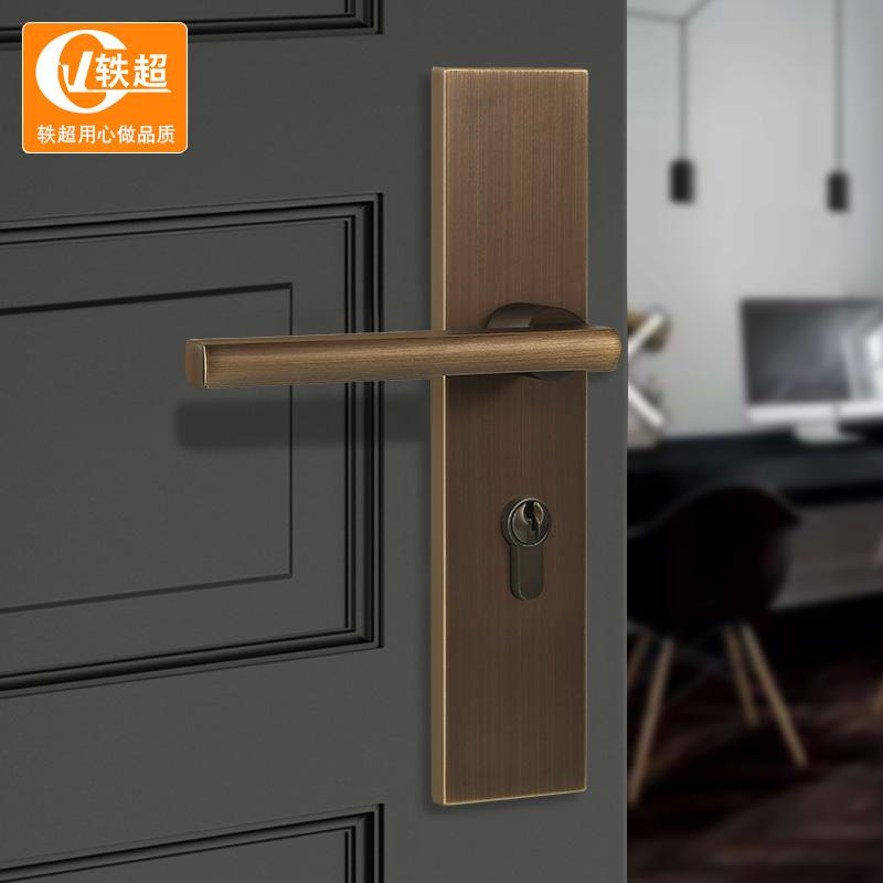 新中式门锁纯铜欧式家用机械门锁房门锁三件套通用型室内卧室全铜,可领取10元天猫优惠券
