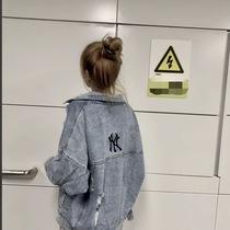 社会女外套快手网红巨婴白岐潮流字母NY刺绣牛仔外套韩版夹克上衣