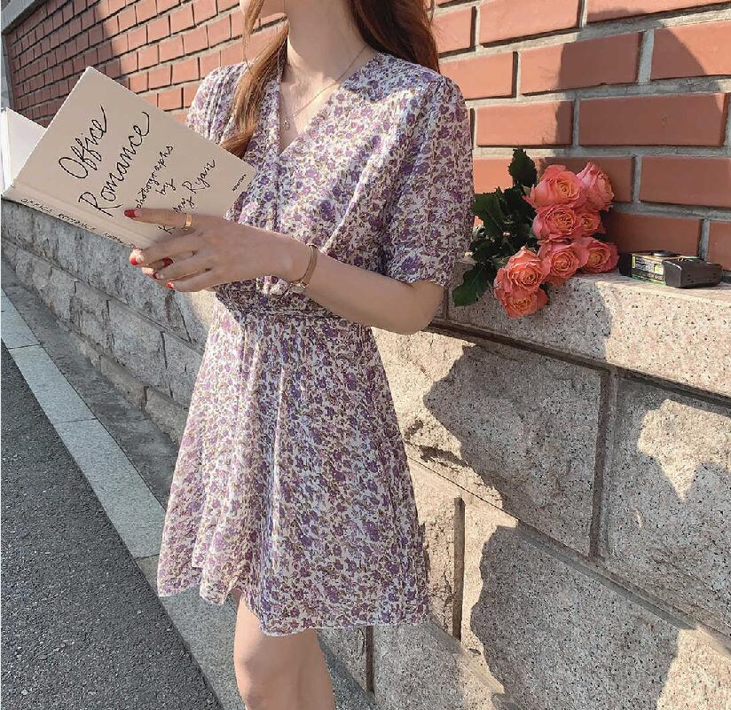 Create a famous product meimeida 2020 summer Chiffon Dress super girl floral short sleeve dress V-neck small and fresh
