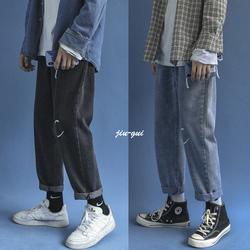 印花水洗质感牛仔裤韩版中性 宽松直筒老爹裤 垂感长裤NK924 P45