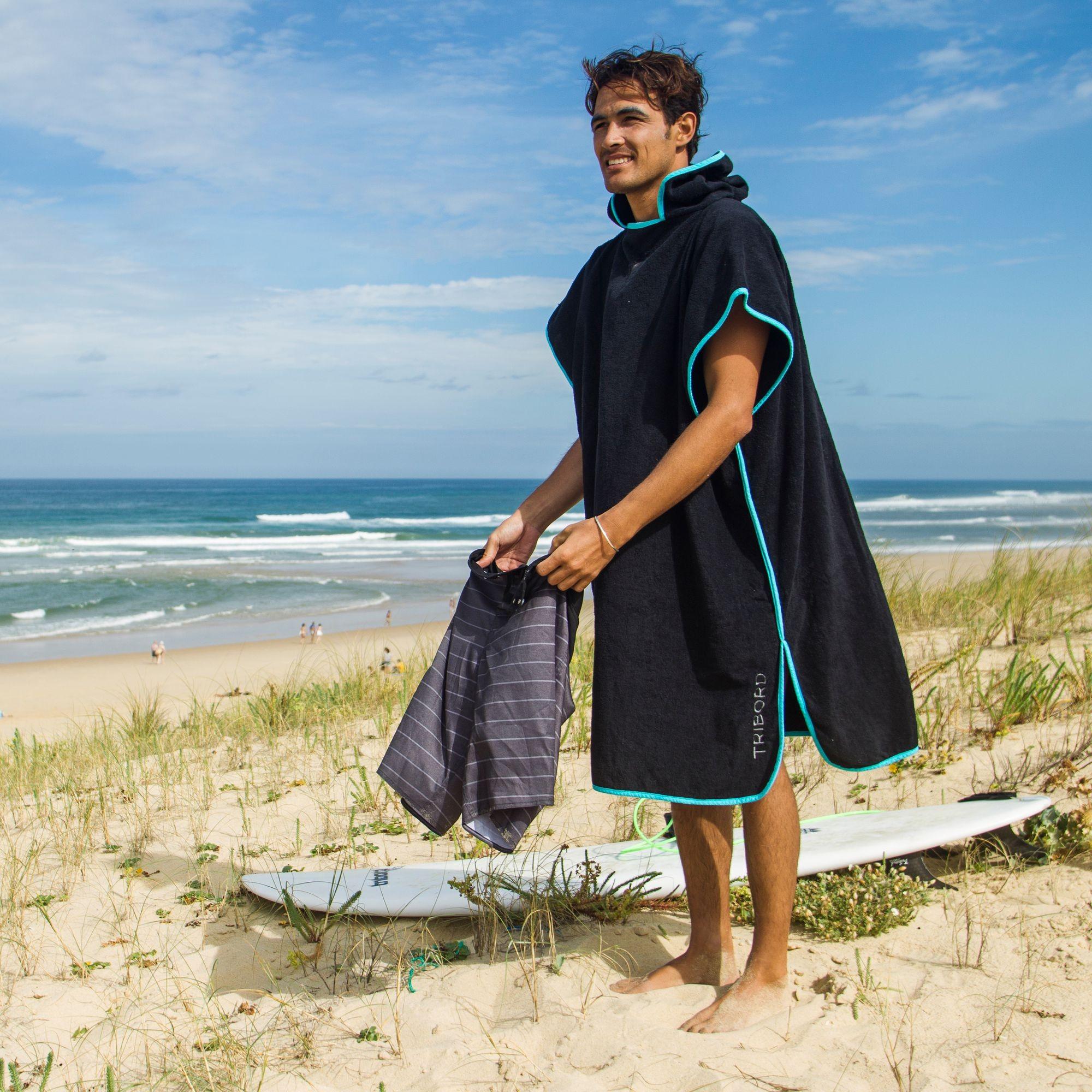 迪卡侬 Tribord海滩冲浪游泳全纯棉吸水毛巾浴巾浴袍换衣斗篷