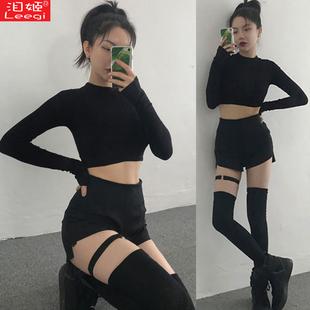 爵士舞嘻哈街舞練功服套裝女學生現代舞蹈短褲成人hiphop表演服裝