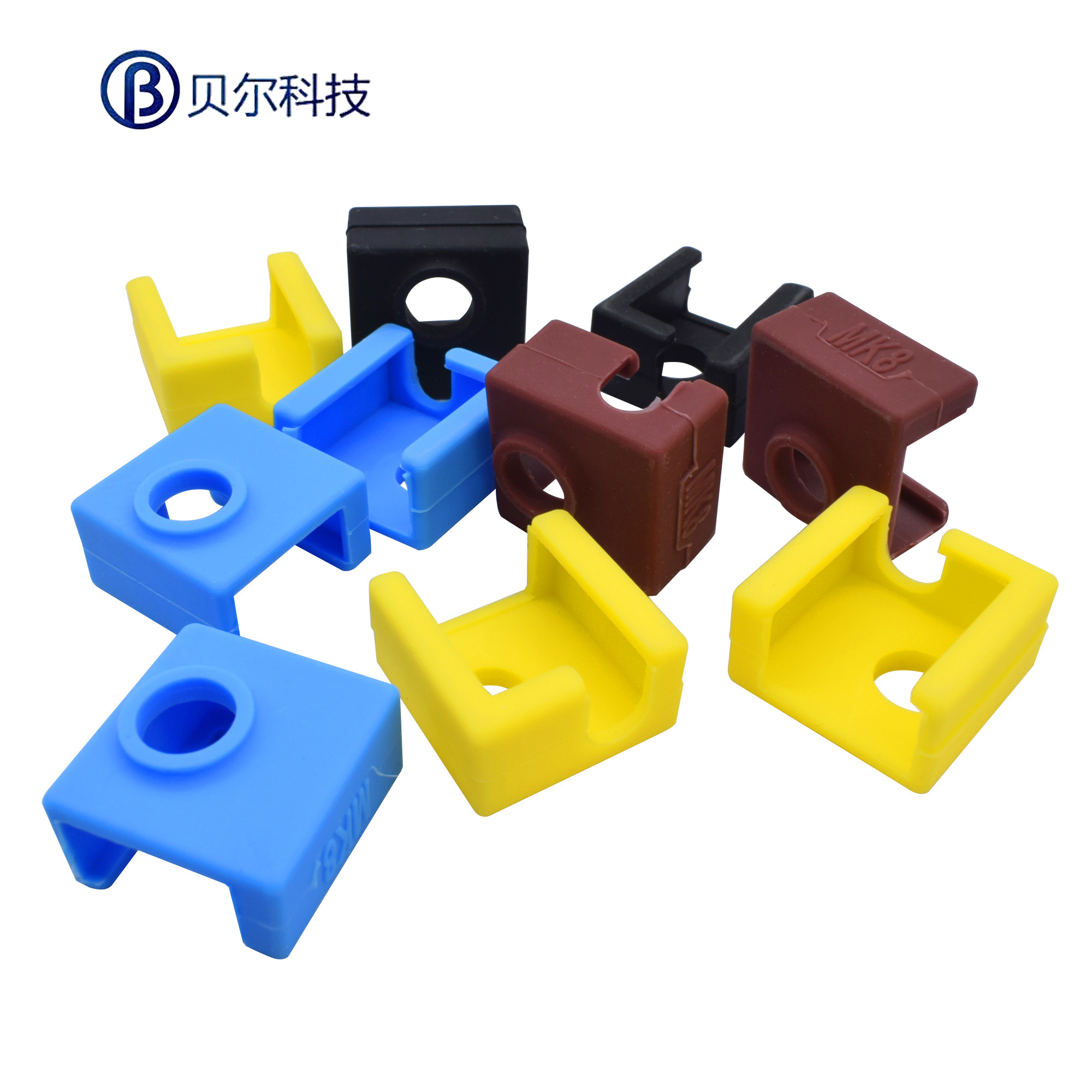3D打印机配件 MK7/8/9 加热铝块硅胶套 耐高温达280℃ 带刻字