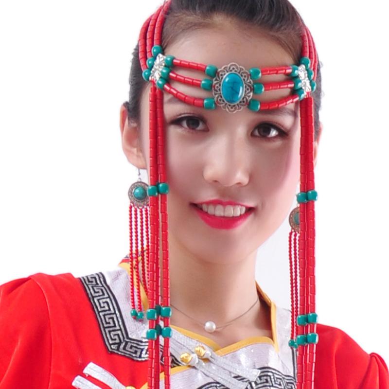 Монголия танец головной убор женщина взрослых женщин этап производительность производительность головной убор монгольский гонка головка с украшения ручной работы шарик украшенный бусами головной убор
