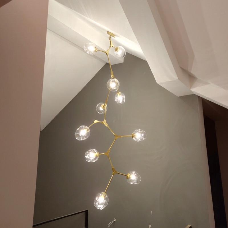 楼梯长吊灯现代简约大气北欧跃层客厅创意个性旋转别墅复式楼灯具