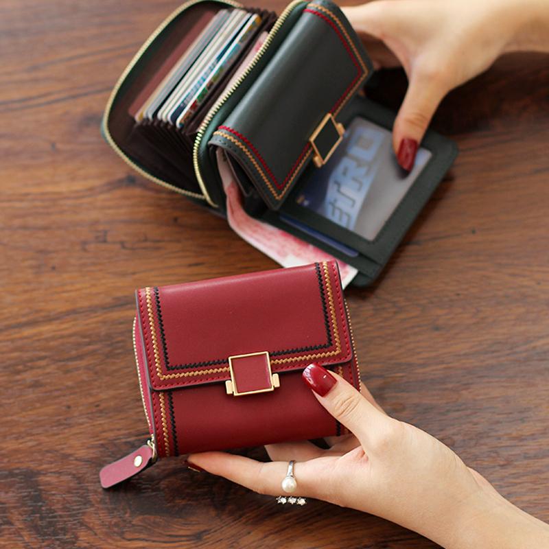 真皮小钱包女短款多卡位钱卡包一体折叠皮夹2020新款时尚牛皮钱夹图片