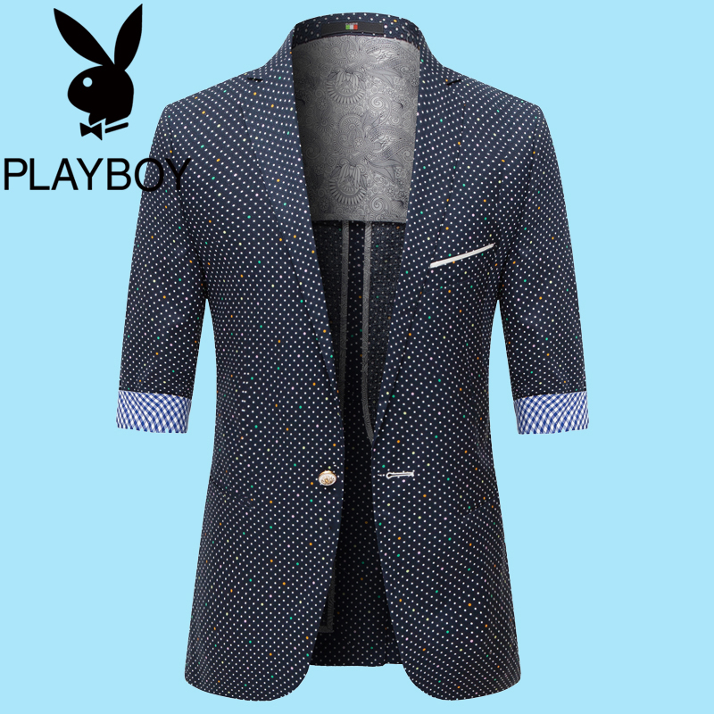 Playboy summer mens suit short sleeve slim fit five sleeve coat youth casual thin middle sleeve suit