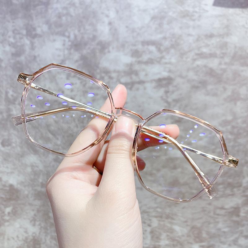 素颜多边形大框抗蓝光防辐射电脑配眼镜近视女平光护眼睛框韩版潮