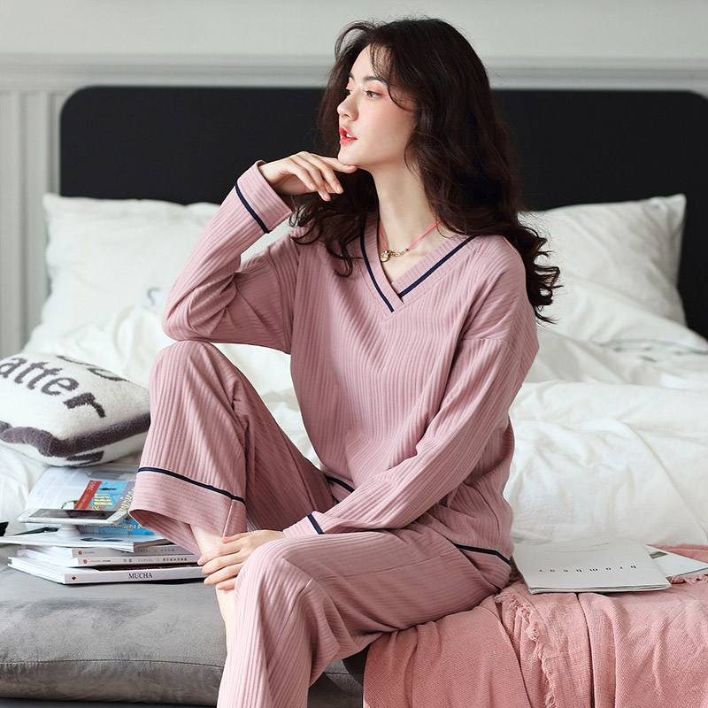 Spring and autumn youth womens pajamas Combed Cotton autumn winter cartoon fashion leisure long sleeve straight pants home suit