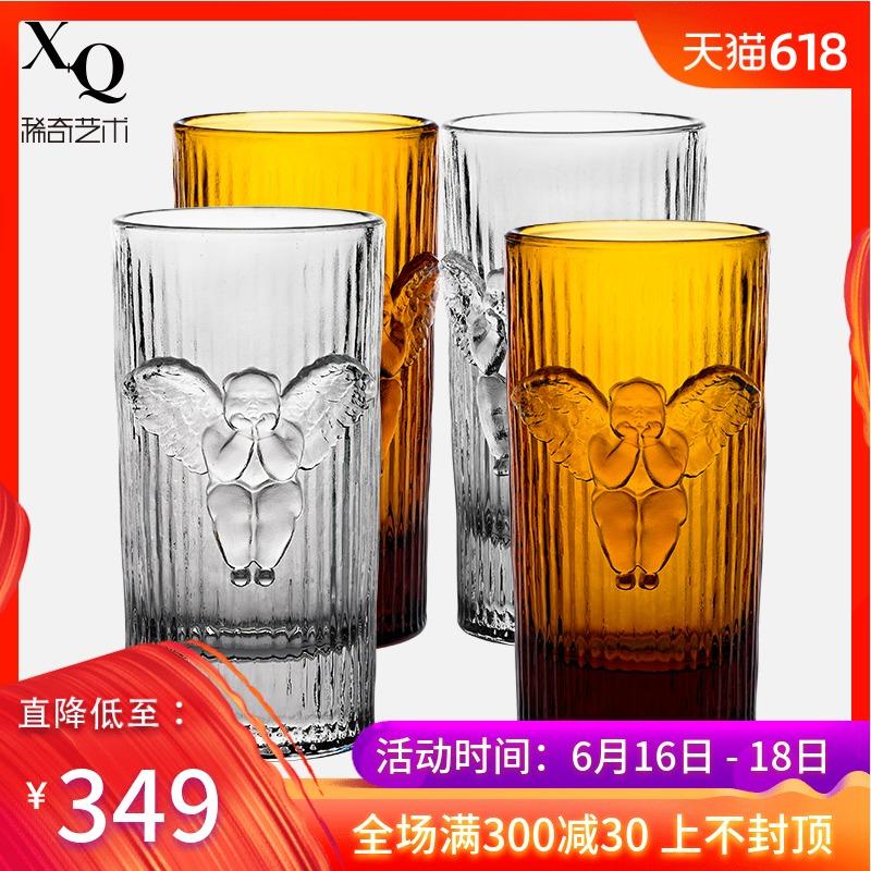 稀奇艺术新品时光倒流条纹天使浮雕威士忌玻璃礼品水杯子